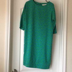 Shift Dress Green with little birds
